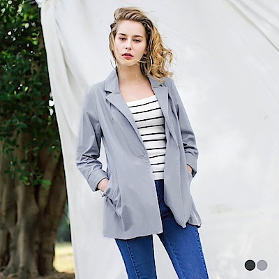 棉質翻領單釦薄西裝外套.2色-OB大尺碼