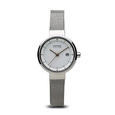 BERING丹麥精品手錶 日期顯示太陽能米蘭帶系列 銀色26mm