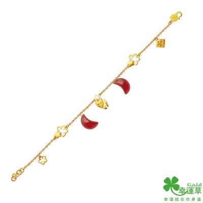 幸運草 享良緣黃金/瑪瑙中國繩手鍊