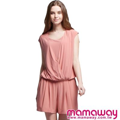 孕婦裝-哺乳衣-假兩件涼爽連身褲裙-共三色-Mam