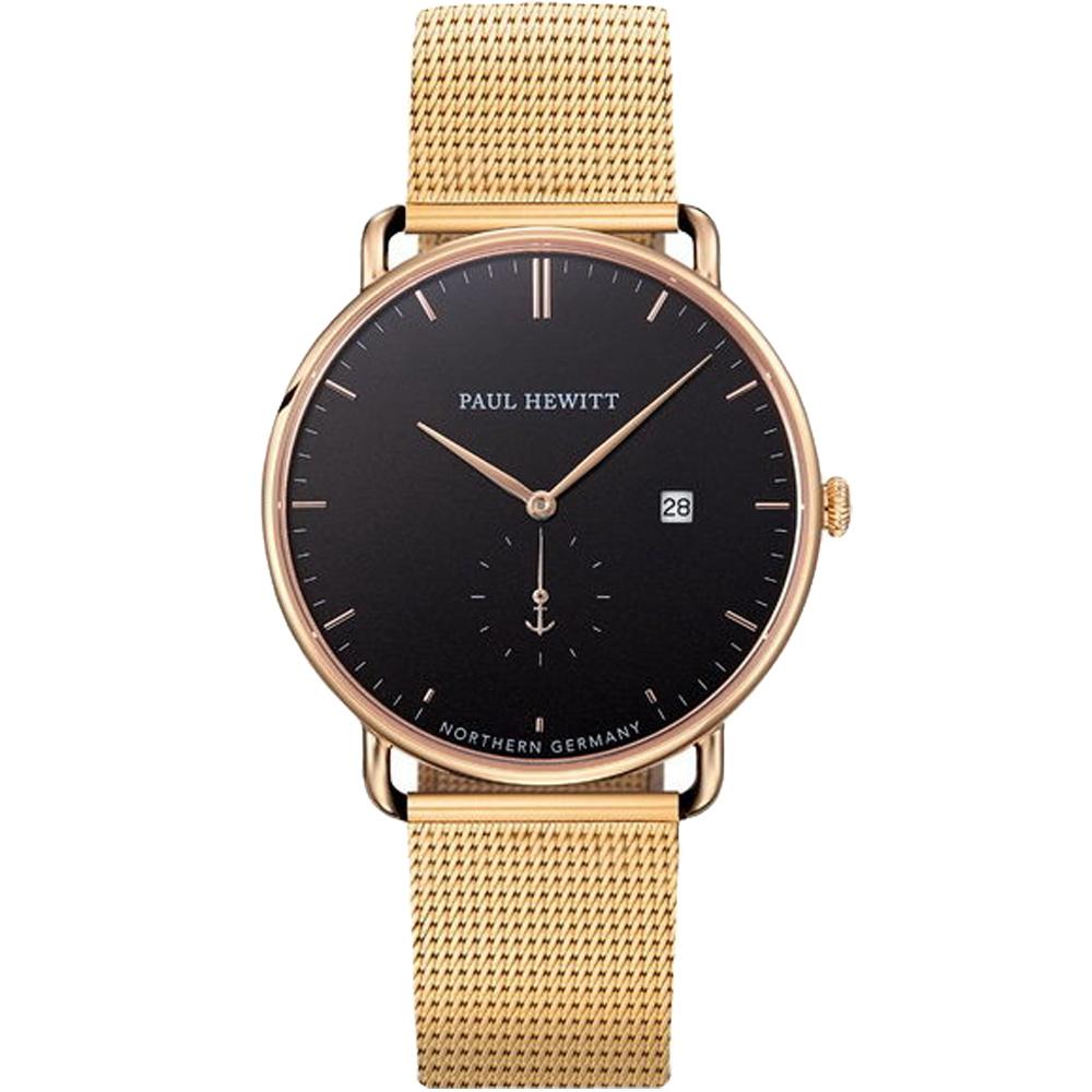 PAUL HEWITT AtlanticLine船錨風尚米蘭帶手錶-黑X金/42mm
