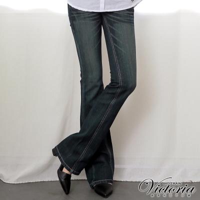 Victoria 豹紋繡燙鑽靴型褲-女-中藍
