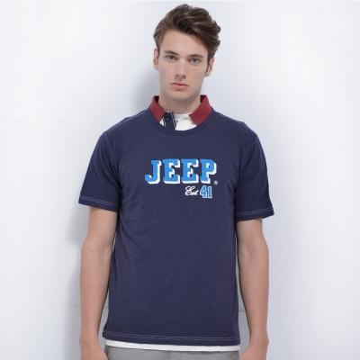 Jeep 簡約文字圖騰T恤-藍色