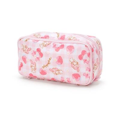 Sanrio-美樂蒂防潑水雙層化妝包-格子花園