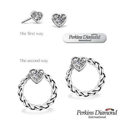 PERKINS 伯金仕 - Heart系列 鑽石耳環【二用式】