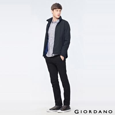 GIORDANO-男裝素面立領風衣運動外套-09-經典黑色