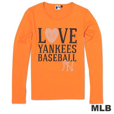 MLB-紐約洋基隊活力閃亮圓領薄T恤-桔(女)