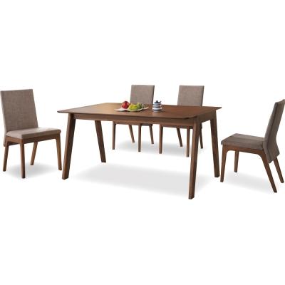 品家居 派翠克4.3尺淺胡桃色實木長方桌椅組(一桌四椅)