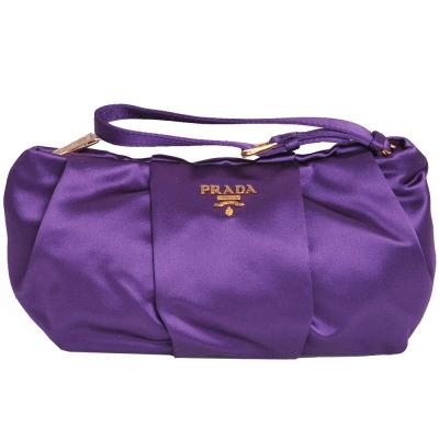 PRADA RASO 經典金色LOGO 高質感綢緞皺褶手拿包(亮紫)