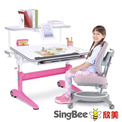 SingBee欣美 酷炫L桌+上層書架+132雙背椅(素)-105x75x75cm
