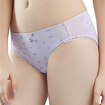 思薇爾 朵朵雲輕甜風系列M-XXL印花低腰三角內褲(縞紫色)