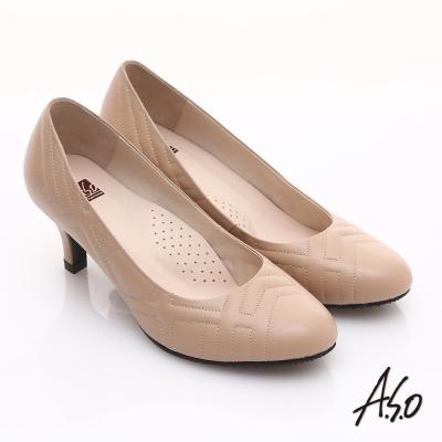 A.S.O 優雅時尚 全真皮菱格壓紋金屬飾扣高跟鞋  卡其