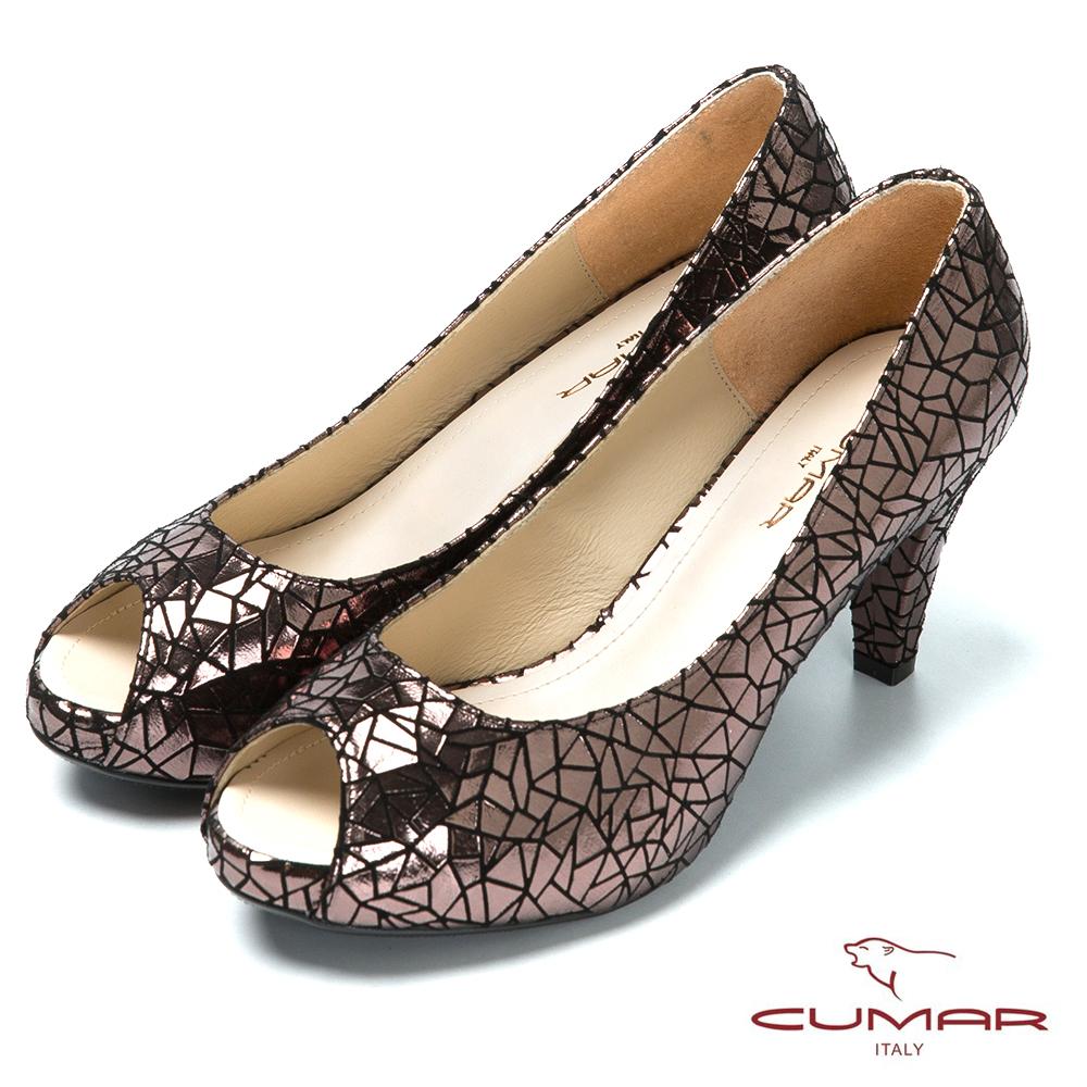 CUMAR台灣製造 金屬色羊皮高跟魚口鞋-黑