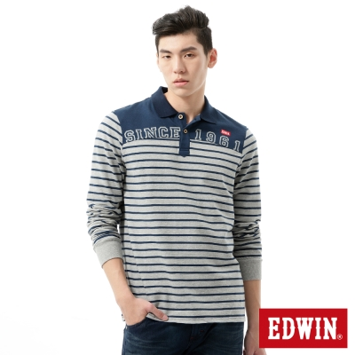 EDWIN-POLO衫-剪接條紋繡花POLO衫-男-麻灰