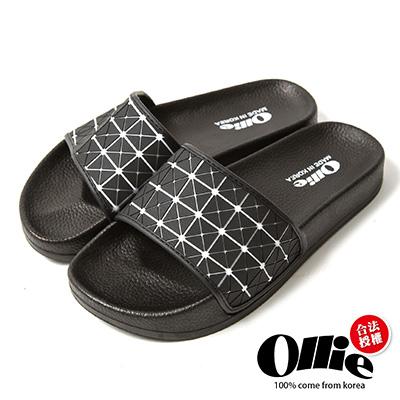 Ollie韓國空運-正韓製幾何菱格紋寬帶涼拖鞋-黑