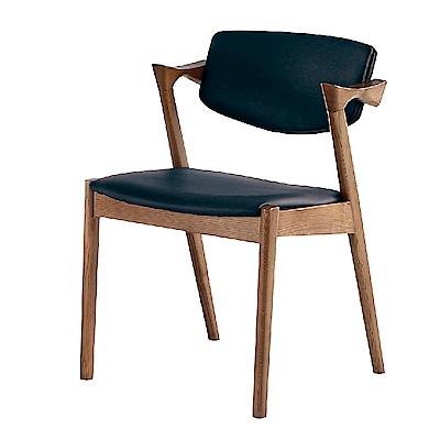 AS-比爾胡桃黑皮墊餐椅-64x55x75cm
