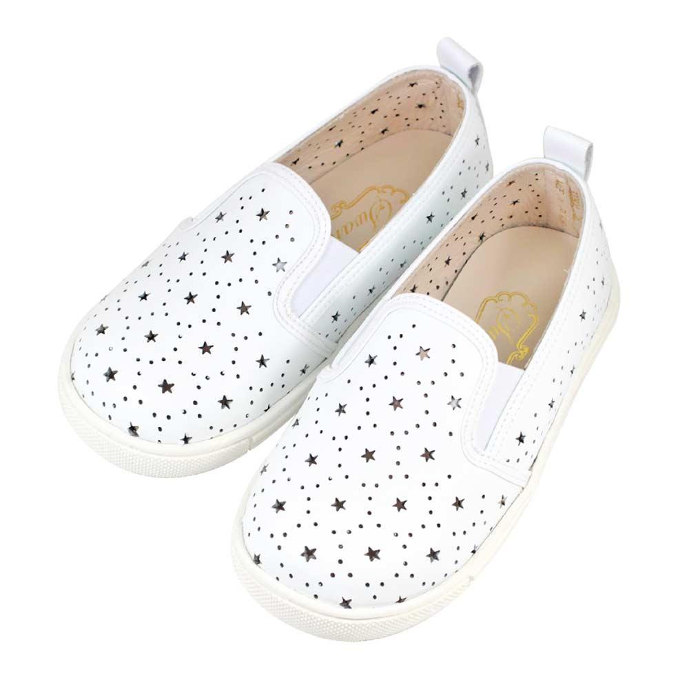 Swan天鵝童鞋-星星雕花摟空親子休閒鞋-寶貝款 3804-白
