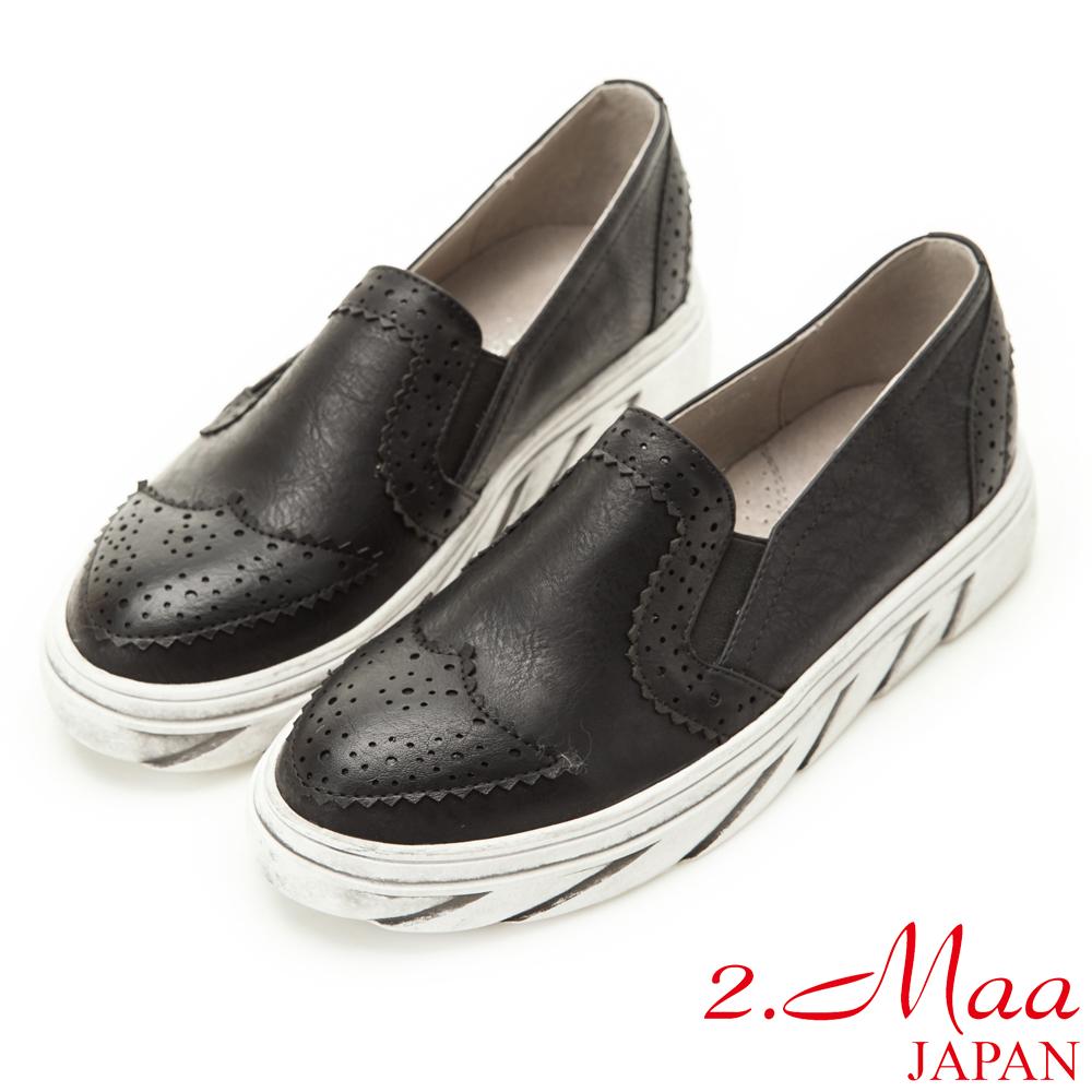 2.Maa 率性英倫氣息復古擦色平底鞋-黑