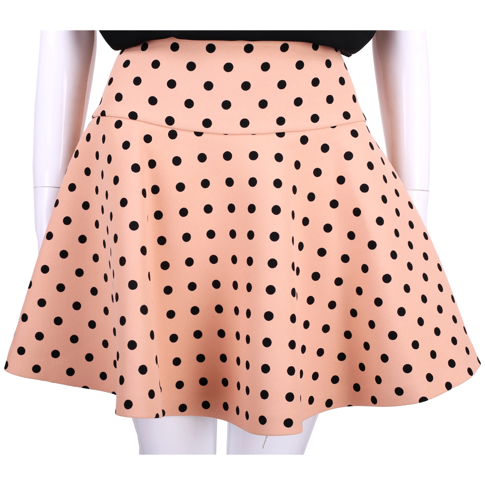 RED VALENTINO 粉x黑色波卡圓點短裙