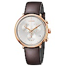 CK CALIVN KLEIN 巔峰系列鍍PVD玫瑰金計時手錶-43mm