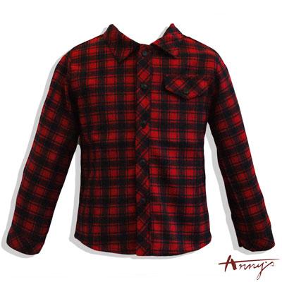 Anny聖誕紅超帥氣經典格紋長袖襯衫*4486紅