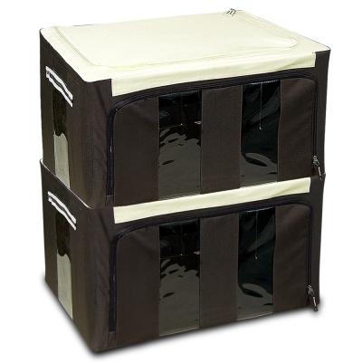 WallyFun 第三代-雙U摺疊收納箱 -棕色58L (超值2入) ~超強荷重200kg