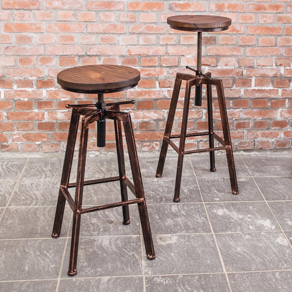 Bernice-加登工業風旋轉升降吧台椅/高椅(二入組合)-30x30x63~82cm