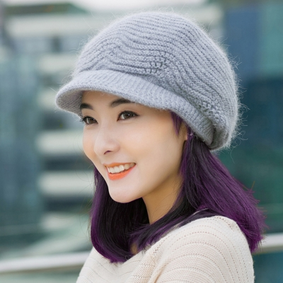 幸福揚邑  雙層保暖護耳小顏針織鴨舌貝蕾帽小臉兔毛線帽-淺灰
