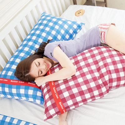 【奶油獅】格紋系列-台灣製造-100%精梳純棉可拆洗長型抱枕(含枕心)100CM(紅)