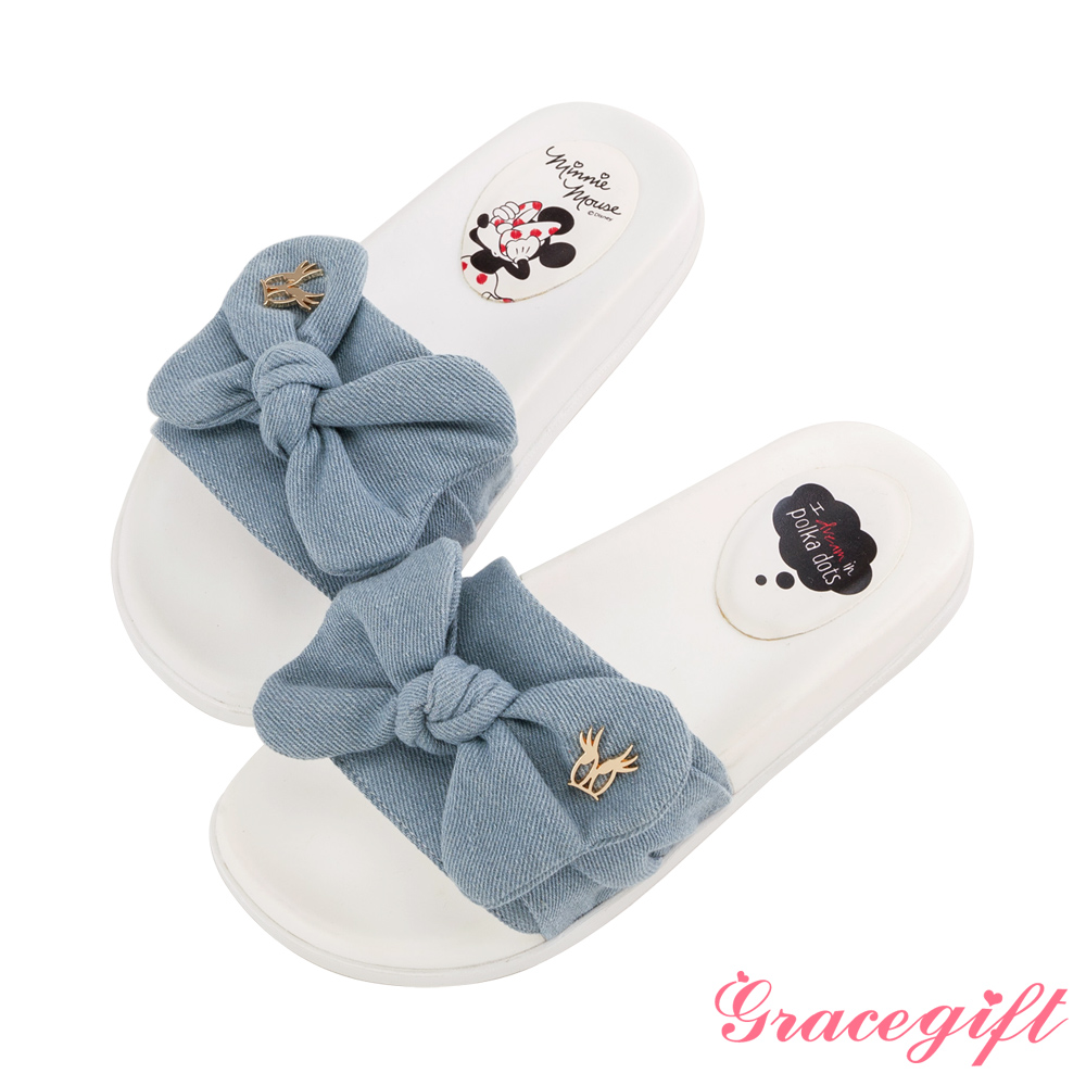 Disney collection by grace gift-寬帶蝴蝶結涼拖鞋 牛仔 product image 1