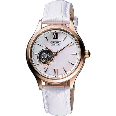 ORIENT-東方-鏤空機芯腕錶-白x玫塊金框-36mm