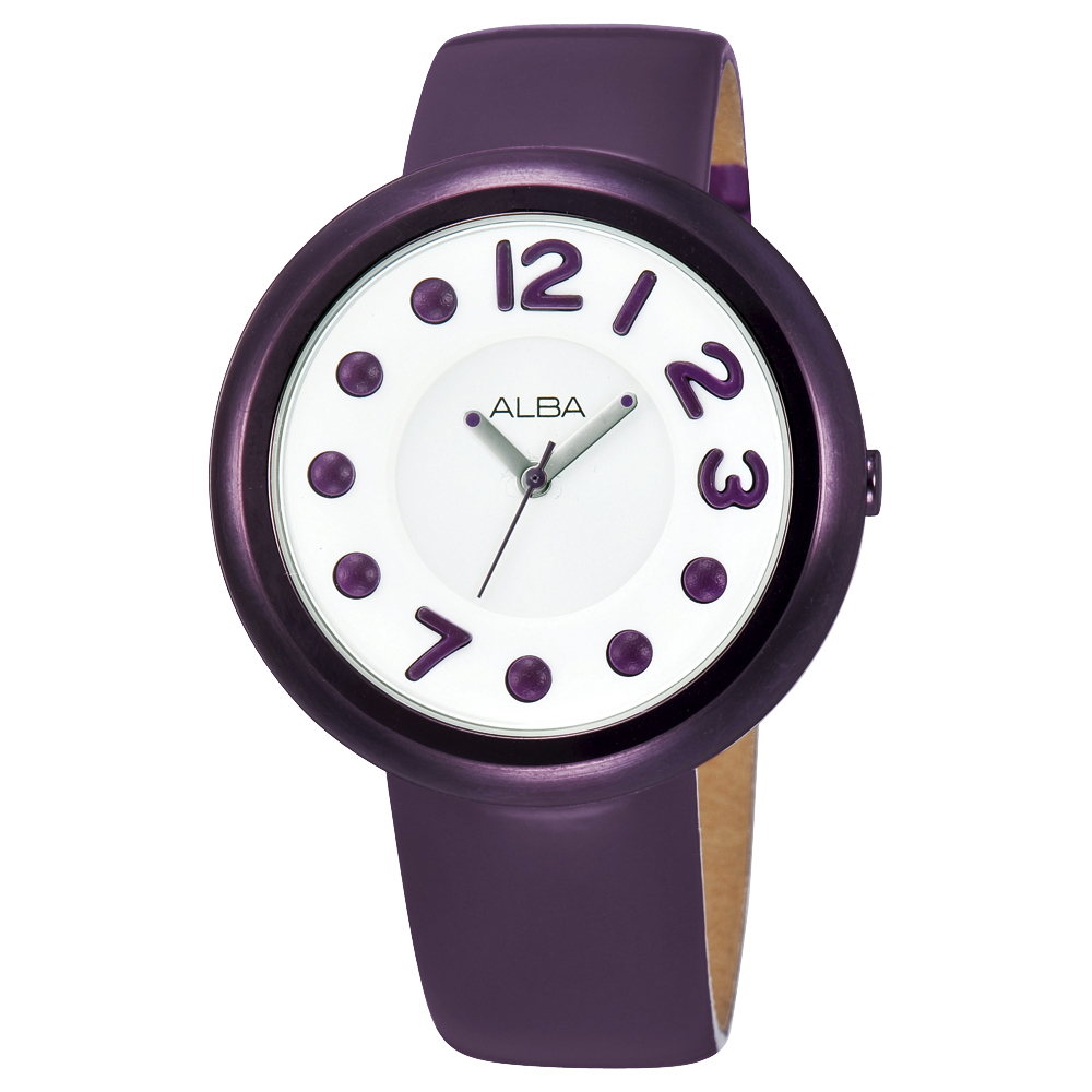 ALBA 普普風樂活女孩-白/亮彩紫框/38mm