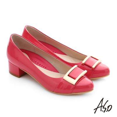 A.S.O 職場女力 真皮鏡面方形飾扣高跟鞋 桃粉紅色
