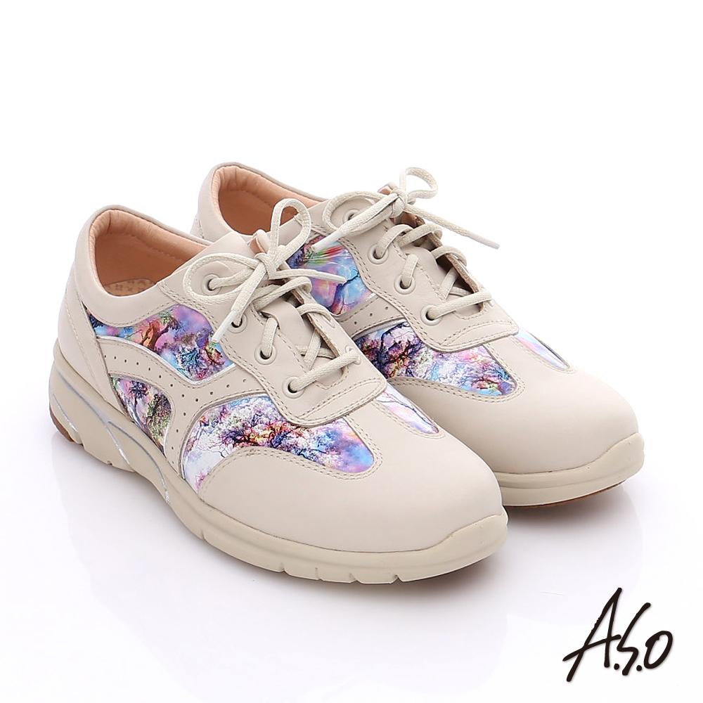 A.S.O 紓壓耐走 全牛皮拼接山水畫奈米休閒鞋 米色