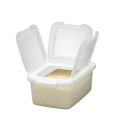 【促銷】日本製造IWASAKI可變換開蓋5公斤透明米箱