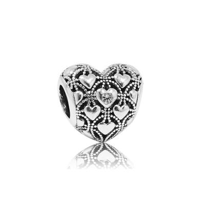 Pandora 潘朵拉 2016鑲鋯心形鏤空魅力 純銀墜飾 串珠