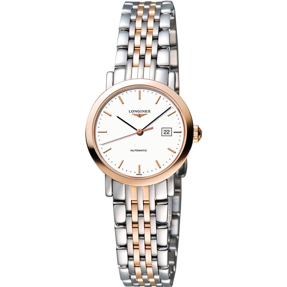 LONGINES Elegant Collection典雅機械女錶-白x雙色版/29mm L43105127