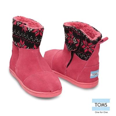 TOMS 圖騰針織拼接雪靴-幼童款(桃紅)