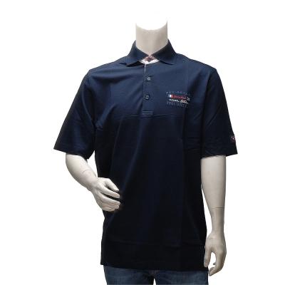 PAUL & SHARK 經典網眼刺繡LOGO條紋飾邊純棉立領短袖POLO衫(深藍)