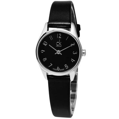 cK Classic 極簡風潮時尚皮革腕錶-黑色(小) /24mm