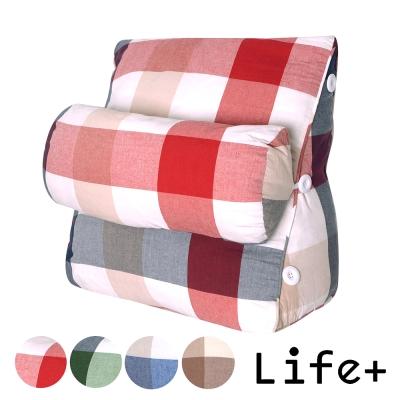 Life Plus 簡單生活舒壓萬用靠枕/抱枕/腰靠枕 (紅底米格M)
