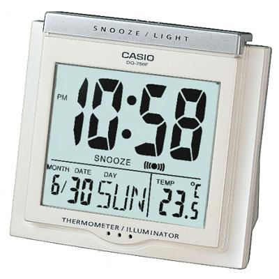 CASIO 測溫型數字電子鬧鐘(DQ-750F-7)-白