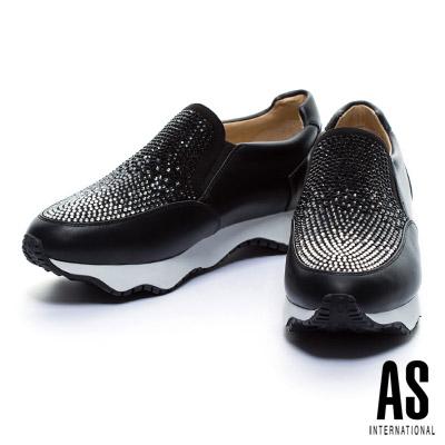 休閒鞋 AS 異材質拼接漸層排鑽厚底休閒鞋-黑