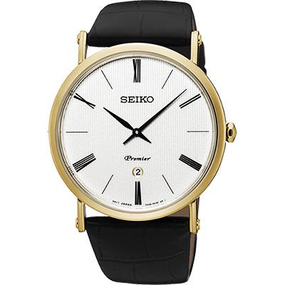 SEIKO 精工 Premier 系列超薄石英腕錶(SKP396J1)-銀x金框/41mm