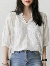 刺繡繡花鏤空五分袖T恤
