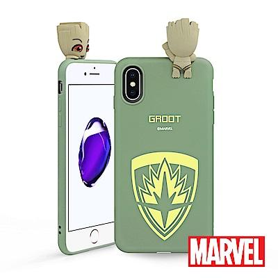 MARVEL iPhone X 復仇者聯盟星際異攻隊公仔矽膠手機殼 - 格魯特