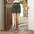 OUWEY歐薇 口袋造型透氣棉質短裙(綠/黃)