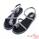 2.Maa-激瘦感羅馬水鑽貼飾低環帶涼鞋-銀