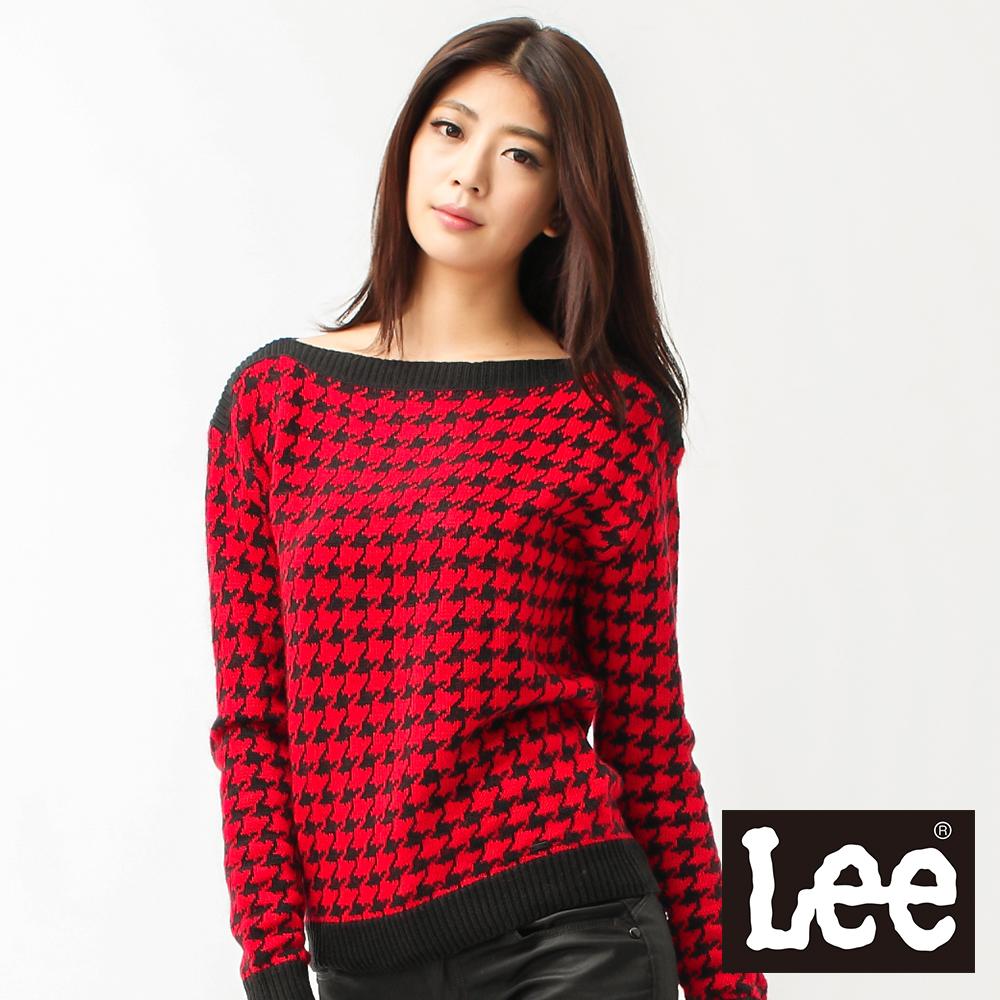 Lee 長袖毛衣 千鳥格紋一字領-女款(紅) LL120466R5D