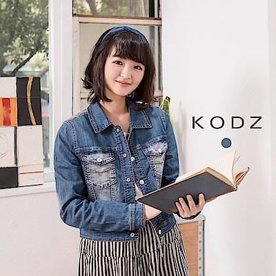 東京著衣-KODZ酷琪琪聯名歐美刷白設計牛仔短外套-女-S.M.L(共一色)